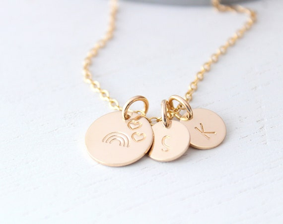 Rainbow Necklace gold with heart and initial letter charms. Rainbow baby necklace