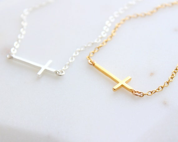 Sideways cross necklace in Silver, tiny cross necklace, dainty everyday necklace, birthday, bridesmaid gifts, sideways gold cross necklace