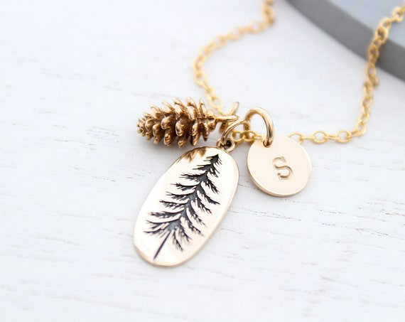 Pine Tree Necklace gold, Pinetree necklace, pinecone necklace gold with initial charm, Evergreen Necklace, Pinetree necklace, Nature jewelry