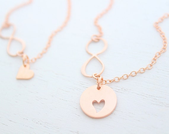 Mother Daughter necklace set rose gold, Mother Daughter Necklace gift, Heart Necklace Eternity necklace, Mothers day Gift, Christmas gift