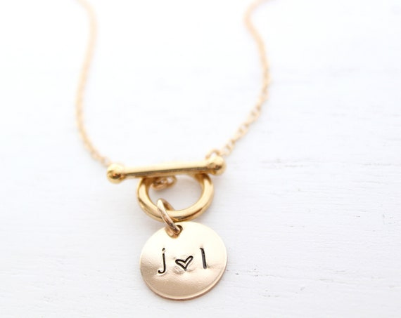 Toggle clasp Necklace, gold toggle chain necklace, Layering Necklace, Couple necklace, Initial necklace, Heart necklace