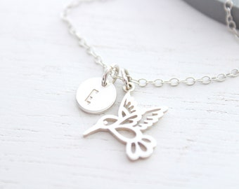 Hummingbird necklace silver, Bird jewelry, Minimalist Necklace, Dainty Necklace, Christmas gift for women