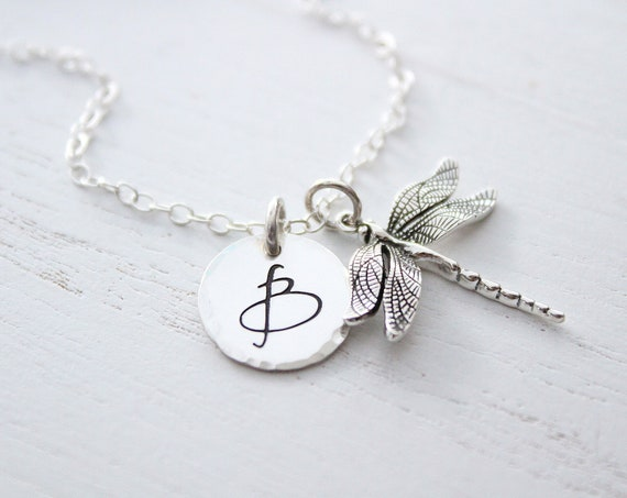 Dragonfly necklace sterling silver, Personalized jewelry, Large initial letter charm necklace, Dragonfly charm necklace