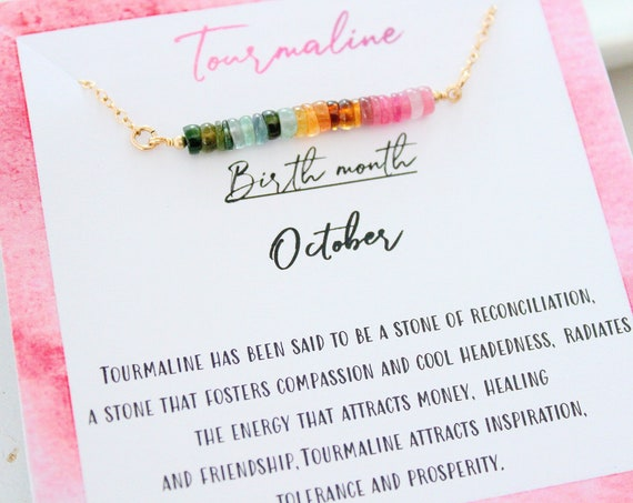 October Birthstone, Tourmaline Necklace, Gift for Her, tiny necklace Watermelon Tourmaline, Ombre dainty necklace, Layering necklace