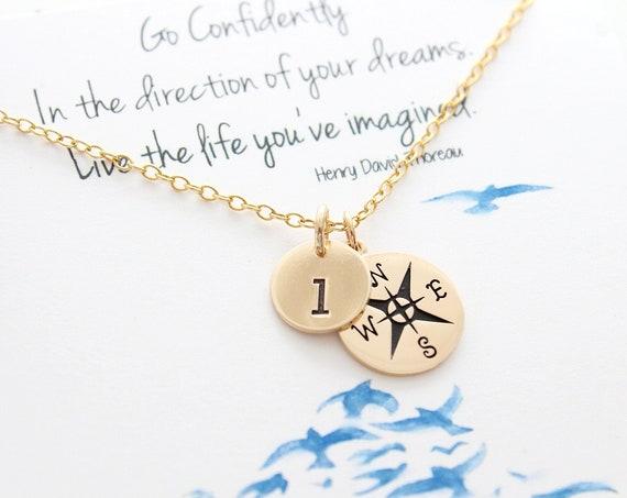 Compass Necklace gold, Initial necklace Compass Necklace Graduation gift, Best friends necklace, medium size