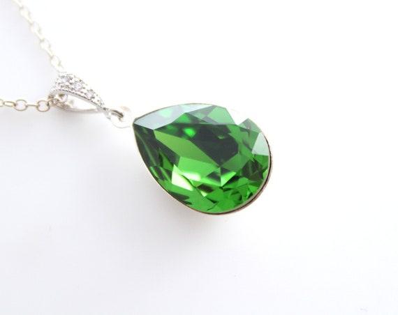 Green Necklace Swarovski Crystal Necklace Bride Necklace Bridal Necklace Bridesmaid Necklace Wedding Gift Fern Green Necklace