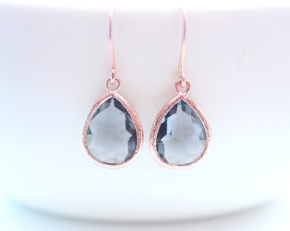 Dark grey Rose Gold black Earrings Bridal Earring Black crystal earrings Wedding Jewelry Bridesmaid Earrings Bride Earrings May Birthstone