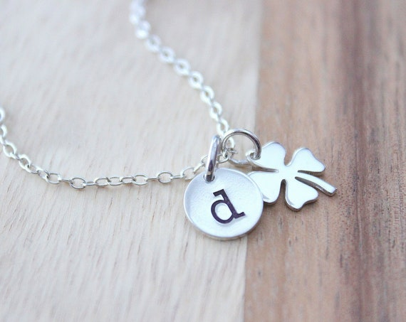 Four Leaf Clover Necklace  Sterling Silver Clover Necklace Shamrock Necklace Sterling silver Initial Necklace Personalized Jewelry