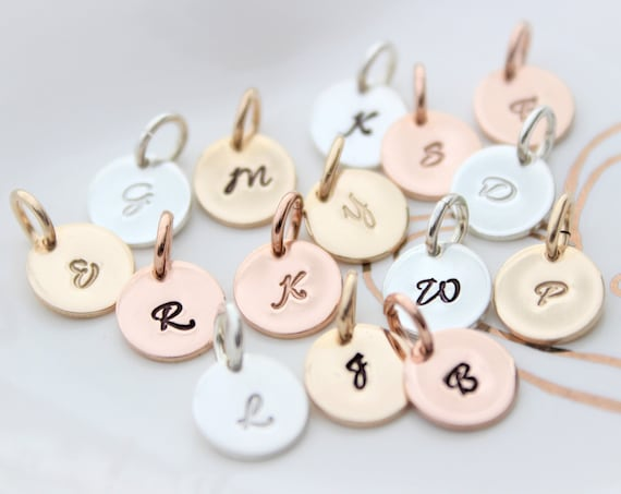 Inital Charm, Initial pendant, Initial letter charm, Personalized jewelry, Letter charm Sterling Silver, initial charm, Rose Gold, SCRIPT MO