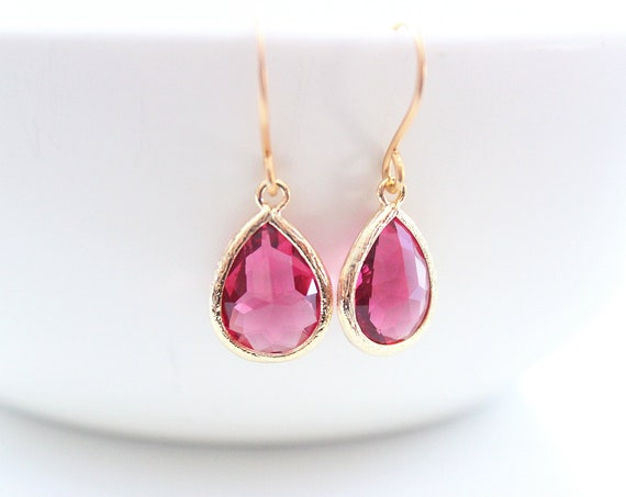 Red Earrings gold Ruby earrings January birthstone fuschia earrings Bride earrings Wedding Jewelry Bridesmaid Earrings Bridal Party Gift