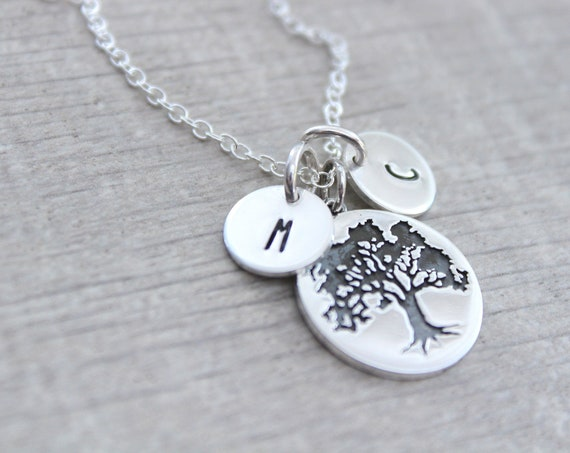 Tree Necklace silver, Pine Necklace, Oak tree necklace, Personalized jewelry, Tree Pendant Sterling Silver, Winter Tree charm, Initial charm