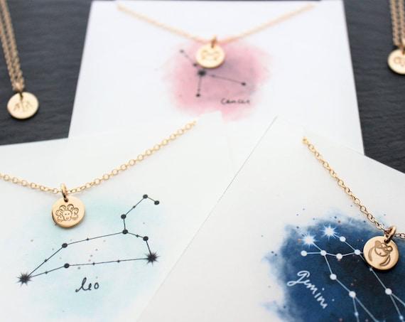 Astrological Necklace, Horoscope Necklace, Astrology Necklace, Zodiac Necklace, Zodiac Sign, Zodiac jewelry, Aries, Sagittarius, Taurus