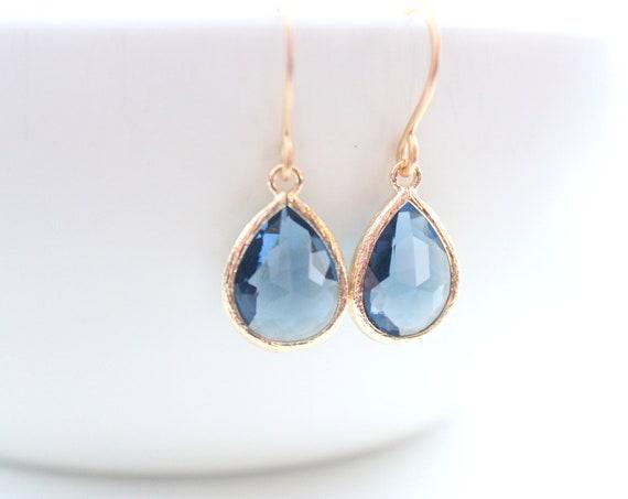 Blue Earrings gold wedding earrings Sapphire earrings Dangle Earrings September birthstone Bridal Gift Bridesmaid Gifts Bride earrings