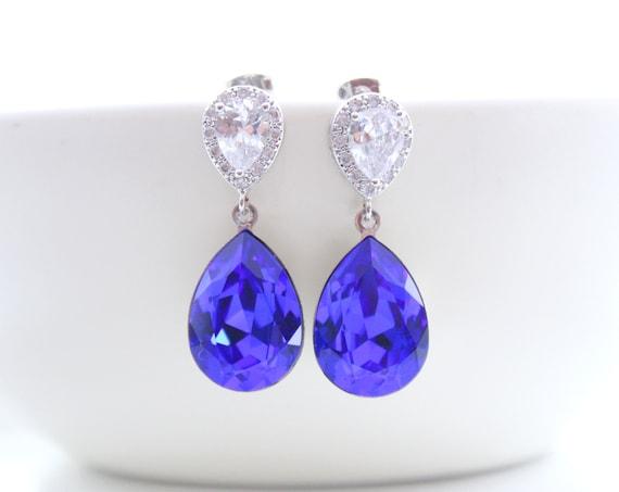 Sapphire Earrings Blue Earrings Blue Crystal Swarovski Bridesmaid Gift Bridal Earrings Wedding Jewelry Bride Earrrings Something Blue