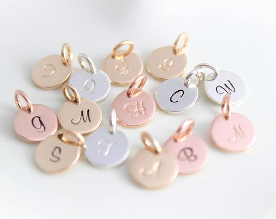 Inital Charm Initial pendant Initial letter charms Personalized letter charm Sterling Silver initial charm Rose Gold initial charm SCRIPT MH
