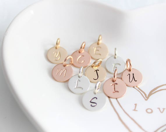 Inital Charm, Initial letter charm, Personalized Jewelry, Sterling Silver initial charm, Rose Gold initial charm, Add On Charms JS