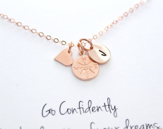 Compass Necklace rose gold, Graduation gifts, College Graduation Gift, Compass pendant, Best friend Gift, Rose gold Necklace, Long distance