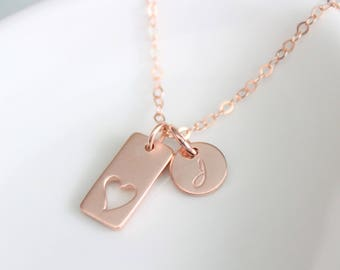 Rose Gold Heart Necklace with Initials Heart necklace rose gold Personalized jewelry Mother's Necklace  Rose Gold necklace