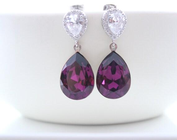 Purple Earrings  Bridal Earrings Amethyst Bride Earrings Wedding Jewelry Swarovski Crystal Earrings Wedding Dark Purple Bridesmaid Gift