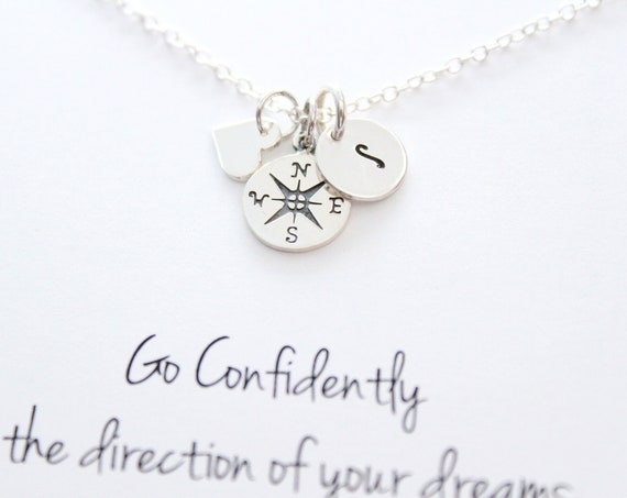 Long distance friendship gift, compass necklace silver, initial necklace, going away gift, friendship Jewelry, Personalized jewelry