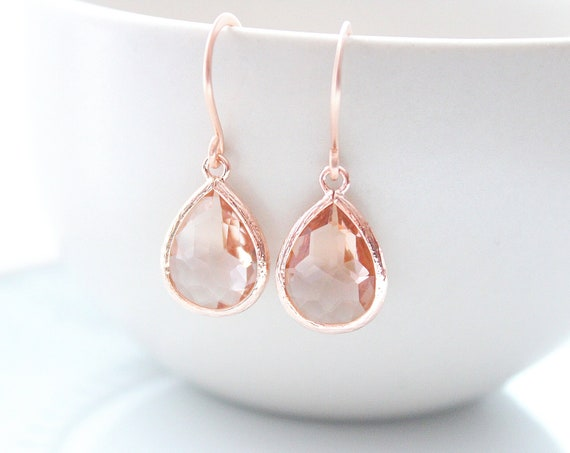 Rose Gold Peach earrings Blush Champagne Earrings Rose Gold Wedding Bridal Earrings Peach Wedding Jewelry Bridesmaid Gift for Her