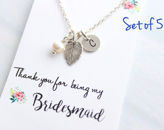 Personalized Jewelry leaf necklace Silver Initial Necklace Fall Wedding Jewelry Bridesmaid Necklace Bridesmaid Gift Rustic wedding Set of 5