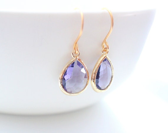 Purple Earrings gold wedding earrings Amethyst earrings Dangle Earrings February birthstone Bridal Earrings Bridesmaid Gifts Bride earrings