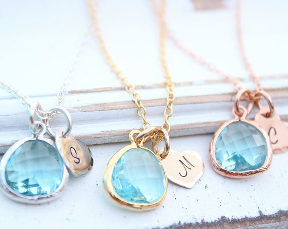 Birthstone Necklace Aquamarine Necklace, Heart Initial Necklace in Gold,  March birthstone, Aquamarine Jewelry, Bridesmaid Gifts