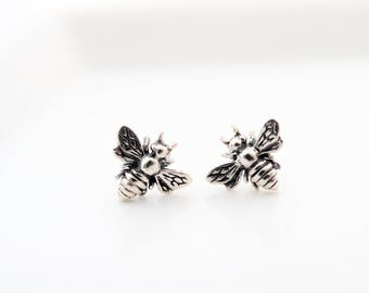 Sterling silver Bee earrings studs Bumble Bee Earrings honey bee Studs Bumble Bee Studs Bee Studs Bee Stud Earrings Bumble Bee Stud Earrings