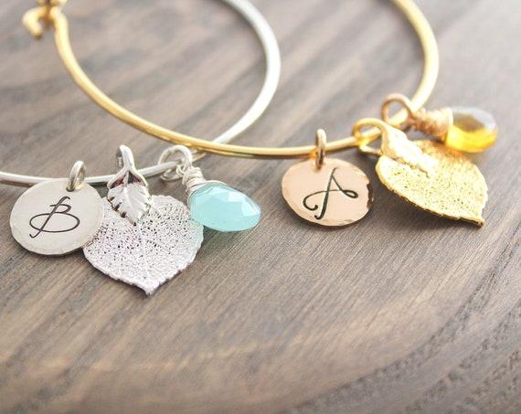 Aspen Leaf Bracelet Silver or Gold Freshwater pearl gemstone pearl leaf charm bracelet leaf bracelet silver leaf bracelet Initial Fall gifts
