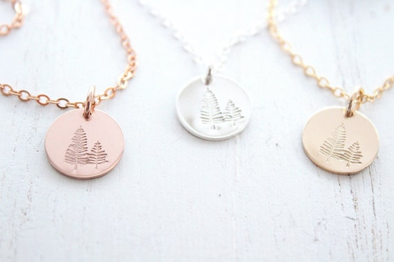 Pine tree necklace evergreen necklace, tree necklace in silver, gold or rose gold , Winter Tree Necklace, Rose gold necklace