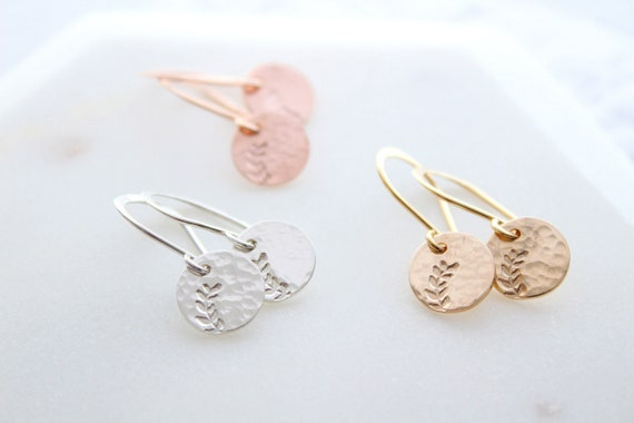 Leaf earrings gold or sterling silver earrings , Women's Earrings, Nature jewelry, mom birthday gift,  gift for her