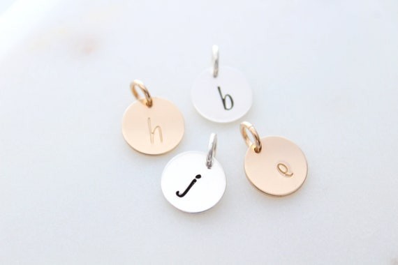 Letter charms for necklaces, Alphabet Charms, sterling silver letter charms, personalized charm, initial letter, 14k Gold Initial discs SA