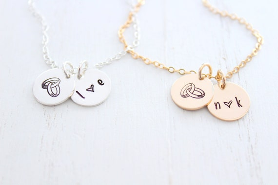 Wedding Gift for Bride, Personalized Wedding initial letter charm , Soulmate necklace, Bridal Shower Gift