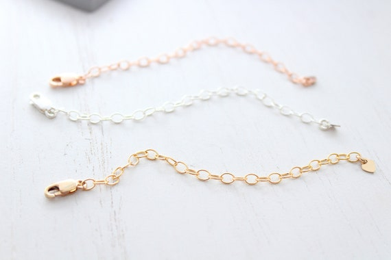 Extender chain Gold, Sterling silver or Rose gold Extender for Chain Extension Necklace, Extender Bracelet extension