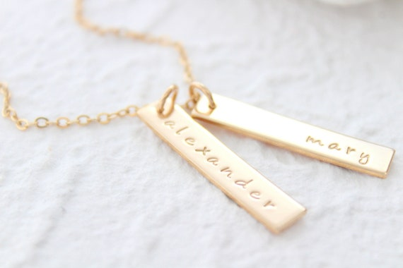 Bar necklace personalized gold or sterling silver, Vertical Bar Necklace, Custom Bar necklace, Personalized necklace, Nameplate