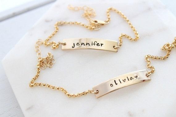 Bar bracelet personalized for women 14k gold filled, name bracelet, couple bracelet, custom bracelet