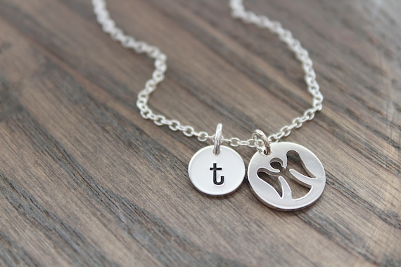 Guardian Angel Necklace silver Remembrance gifts • Mother Necklace • Angel wings necklace • necklace with Initial • Personalized Jewelry