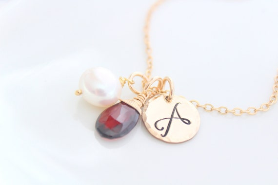 Personalized birthstone and initial necklace, gold monogram and freshwater pearl, custom necklace birthstone necklace Gift for her