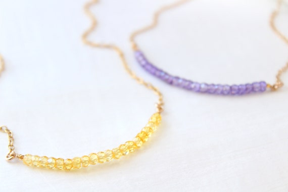 Purple cubic zirconia necklace for women, crystal necklace gold, gift for her, April birthstone necklace, Christmas gift