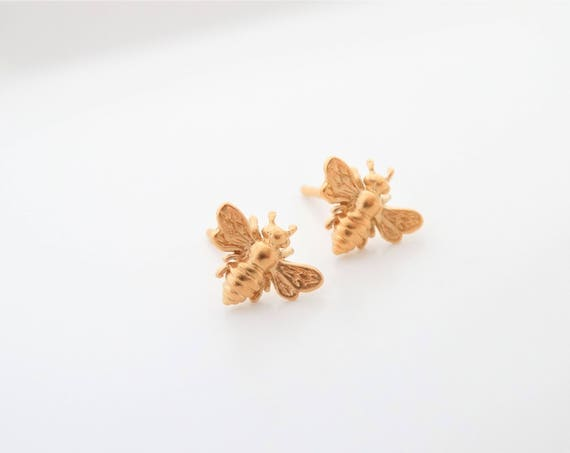 Gold Bee earrings studs Bumble Bee Earrings honey bee Studs Tiny Honeybee Stud Earrings
