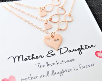 Mother daughter Necklace Set Infinity necklace mother daughter jewelry for mom Necklace daughter Heart Necklace Mothers day from daughter