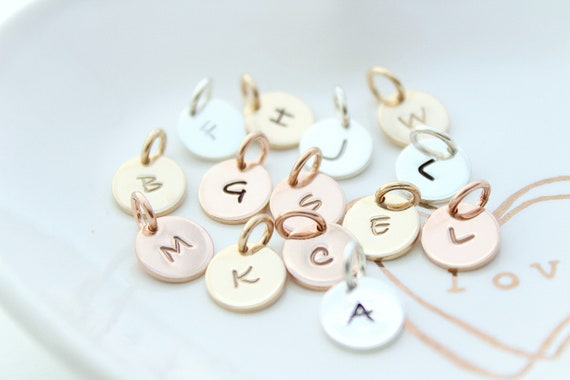 Inital Charm Initial pendant Initial letter charms Personalized letter charm Sterling Silver initial charm Rose Gold initial charm BR