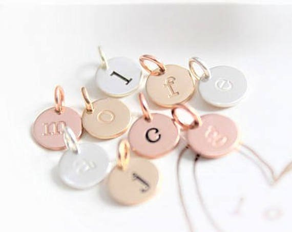 Inital Charm, Initial pendant, Initial letter charms, Personalized letter charm, Sterling Silver initial charm, Rose Gold initial charm TW
