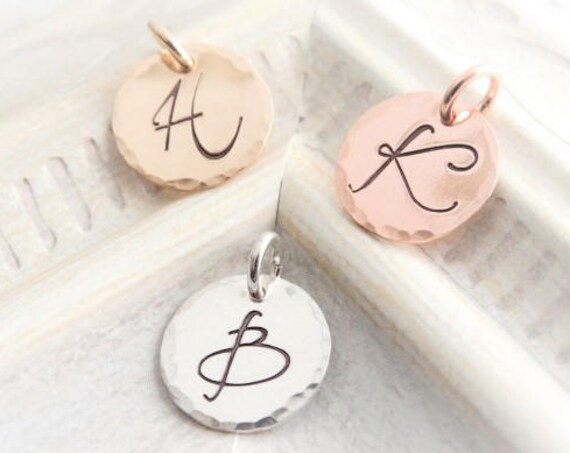 Gold initial charm single letter charm gold filled rose gold filled  sterling silver gold charm silver charm handstamped