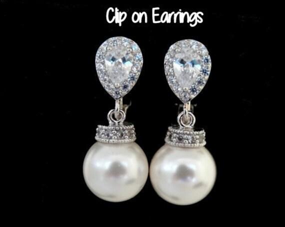 Clip On Pearl Earrings White Pearls Ivory Pearls cubic zirconia Earrings Wedding Jewelry Bridal Clip on Earrings non pierced earrings