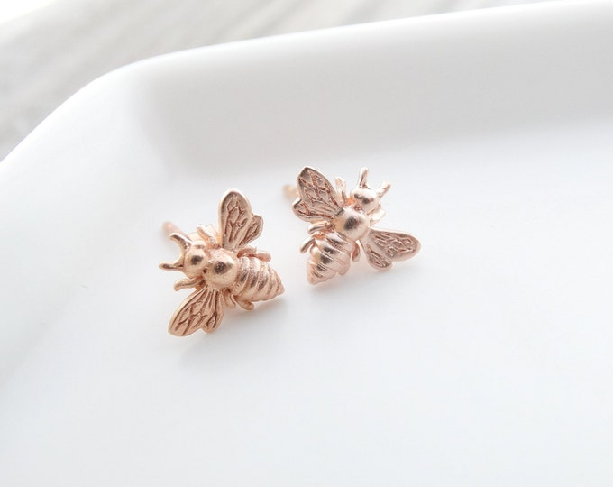 Featured listing image: Rose Gold Bee earrings  Bee Jewelry  Bumble Bee Studs Bee Studs Bumble Bee Earrings Bee Stud Earrings Bumble Bee Stud Earrings