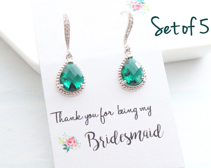 Featured listing image: Set of 5 Bridesmaid Earrings Wedding Jewelry Bridal Earrings Amethyst Earrings Emerald Earrings Wedding Jewelry Choose your color