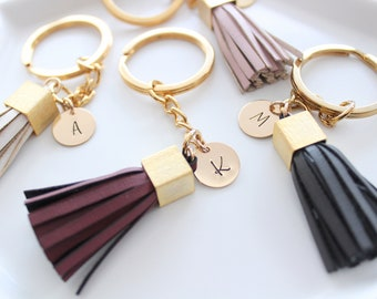 Gift Women Personalized Gift Leather Bag charm Tassel Keychain Name keychain  Christmas Gift For Her Personalized Keychain for women Gift 916a359598