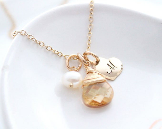 Featured listing image: Initial Necklace Bridesmaids Necklace Personalized Necklace Initial Charm Necklace Pearl Necklace Gold necklace Swarovski Crystal necklace
